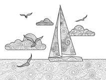 Libro da colorare della barca a vela per il vettore degli adulti Immagini Stock