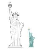 Libro da colorare della statua della libertà Simbolo di libertà e della democrazia illustrazione vettoriale