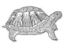 Libro da colorare della tartaruga per il vettore degli adulti Immagini Stock Libere da Diritti