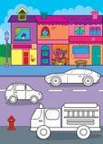 Libro da colorare delle automobili sulla via della città illustrazione vettoriale