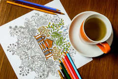 libro da colorare di Anti-sforzo nel processo del disegno Immagine Stock Libera da Diritti