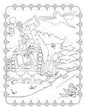 Libro da colorare di Baba Yaga And Hut illustrazione vettoriale