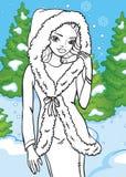 Libro da colorare di bella ragazza nella foresta di inverno royalty illustrazione gratis