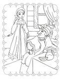 Libro da colorare di belle ragazza e matrigna illustrazione vettoriale