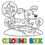 Libro da colorare di piccolo cane o del cucciolo Fotografia Stock Libera da Diritti