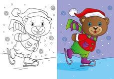 Libro da colorare di Teddy Bear Skates sveglio Fotografia Stock