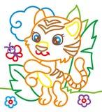 Libro da colorare di Tiger Playing illustrazione vettoriale