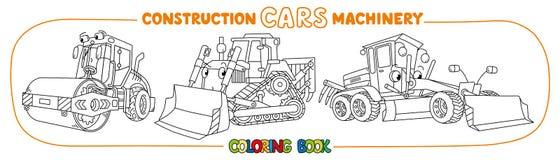 Libro da colorare di trasporto del macchinario di costruzione illustrazione vettoriale