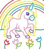 Libro da colorare di Unicorn Near Rainbow royalty illustrazione gratis