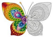 Libro da colorare di vettore per gli adulti Farfalla decorativa dei colori luminosi immagine per la stampa sui vestiti, coloritur Fotografia Stock Libera da Diritti