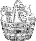 Libro da colorare di vettore per l'adulto Giorno di ringraziamento Canestro delle mele illustrazione vettoriale