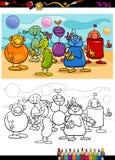 Libro da colorare divertente del fumetto degli stranieri Fotografia Stock