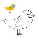 Libro da colorare divertente dell'uccello gallinacei comici nello stile lineare illustrazione vettoriale