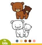 Libro da colorare, due orsi illustrazione vettoriale
