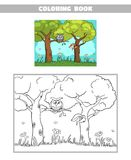 Libro da colorare Forest Owl Squirrel Immagine Stock Libera da Diritti