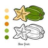 Libro da colorare: frutta e verdure (frutta di stella) Fotografie Stock