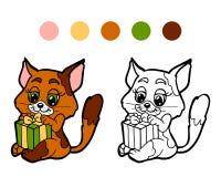 Libro da colorare: Gatto di inverno di Natale con il regalo Gioco per i bambini Fotografia Stock
