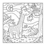 Libro da colorare (giraffa), alfabeto incolore per i bambini: lettera Fotografia Stock Libera da Diritti