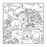 Libro da colorare (leone), alfabeto incolore per i bambini: lettera L Fotografia Stock