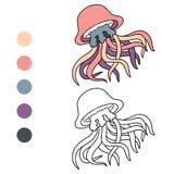 Libro da colorare (meduse) Immagine Stock