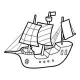 Libro da colorare, nave di navigazione royalty illustrazione gratis