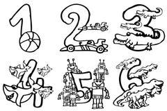 Libro da colorare - numeri di buon compleanno per giocare ed imparare i numeri con le immagini circa gli hobby da 1 - 6 per la pa illustrazione di stock