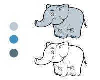 Libro da colorare, pagina di coloritura (elefante) Fotografie Stock Libere da Diritti