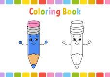 Libro da colorare per i bambini Carattere allegro Illustrazione isolata piana semplice di vettore nello stile sveglio del fumetto illustrazione vettoriale