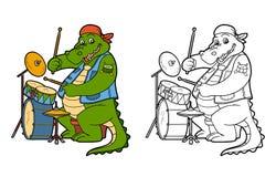 Libro da colorare per i bambini: coccodrillo e tamburo royalty illustrazione gratis