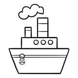 Libro da colorare per i bambini, nave a vapore illustrazione vettoriale