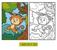 Libro da colorare piccola scimmia con una banana - Scimmia faccia da colorare pagine da colorare ...