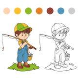 Libro da colorare (pescatore del ragazzino) Fotografie Stock Libere da Diritti