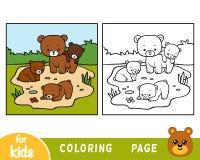 Libro da colorare, quattro orsi illustrazione vettoriale