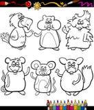 Libro da colorare sveglio del fumetto degli animali domestici Fotografia Stock Libera da Diritti