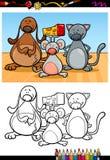 Libro da colorare sveglio del fumetto degli animali domestici Fotografie Stock