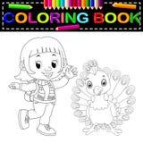 Libro da colorare sveglio del pavone e della ragazza illustrazione vettoriale