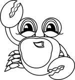 Libro de colorante Animal de mar dibujado mano Cangrejo Imágenes de archivo libres de regalías