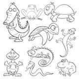 Libro de colorante con los reptiles y los anfibios Fotos de archivo libres de regalías