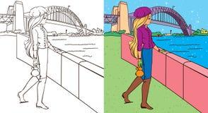 Libro de colorante de la muchacha cerca del puente Fotos de archivo libres de regalías