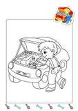 Libro de colorante de los trabajos 22 - mecánico Foto de archivo libre de regalías
