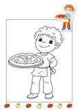 Libro de colorante de los trabajos 8 - pizza Foto de archivo libre de regalías