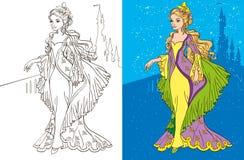 Libro de colorante de princesa And Castle Fotografía de archivo libre de regalías