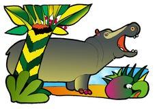Libro de colorante del hipopótamo stock de ilustración