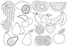 Libro de colorante Frutas e historieta de las bayas Iconos Vector stock de ilustración