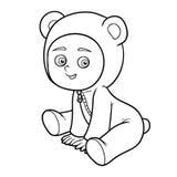 Libro de colorante Niño pequeño en un traje del oso Foto de archivo libre de regalías