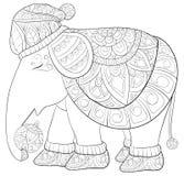 Libro de colorear adulto, página un elefante lindo que lleva un casquillo de la Navidad foto de archivo libre de regalías
