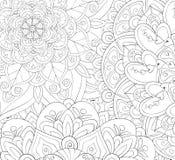 Libro de colorear adulto, página una imagen de fondo abstracta floral para imágenes de archivo libres de regalías