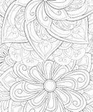 Libro de colorear adulto, página una imagen de fondo abstracta floral para imagen de archivo