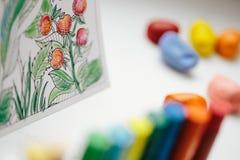 Libro de colorear anti del adulto de la tensión Terapia del arte y del color Foto de archivo libre de regalías
