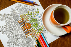 Libro de colorear antiesfuerzo en el proceso del dibujo Imagenes de archivo